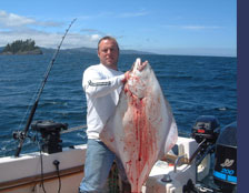 Chad Calder with a Fresh Catch of Halibut